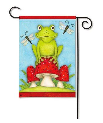 Toadstool Frog Garden Flag