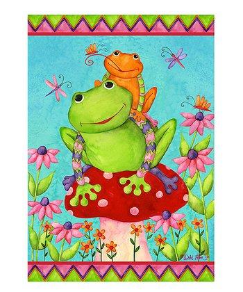 Mushroom Frogs Garden Flag