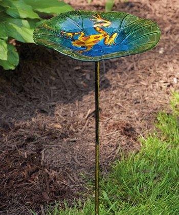 Frog & Lily Pad Birdbath Stake Set