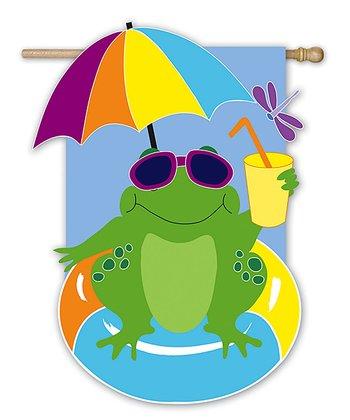 Cool Frog Garden Flag