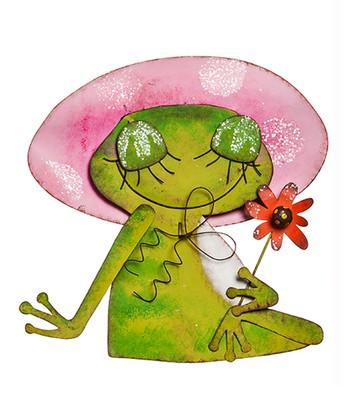 Pink Hat Froggy Garden Gal Statue