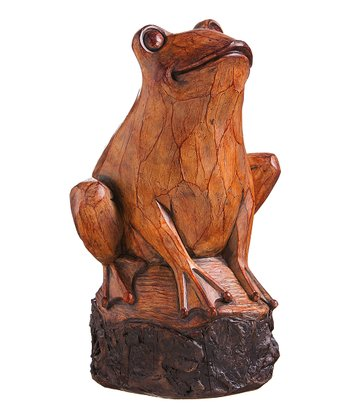 Wood Carved Frog Statue