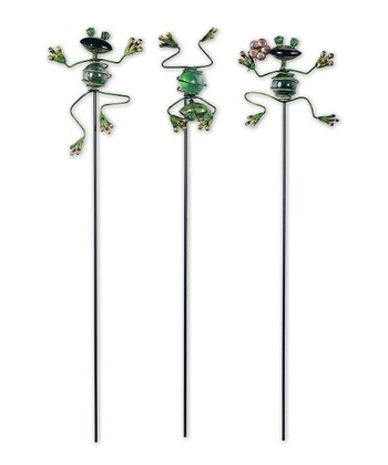 Green Jumping Frog Plant Pick Set