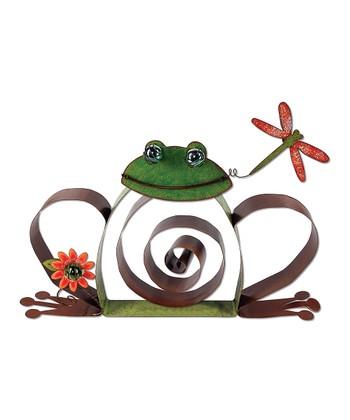 Green & Burgundy Spiral Frog Metal Statue
