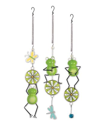 Green Frog & Daisy Bouncy Ornament Set