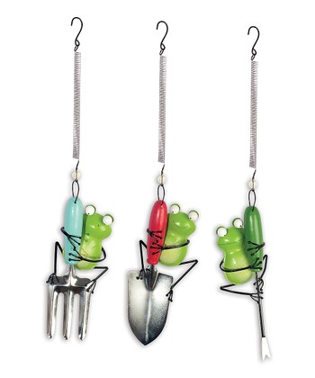 Frog & Garden Tool Bouncy Ornament Set