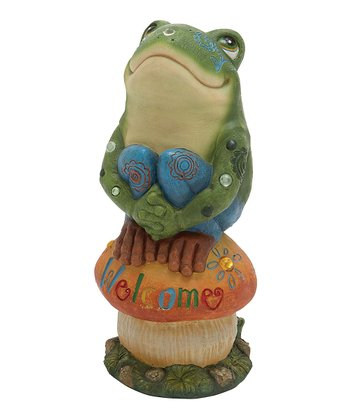 'Welcome' Toadstool Frog Figure