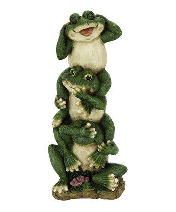 Green Triple Frog Statue