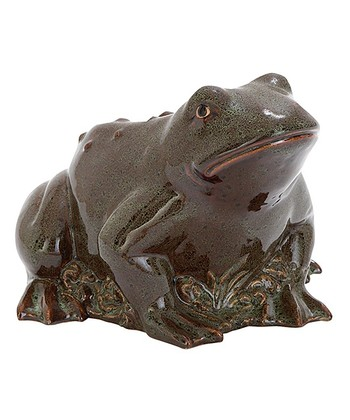 Brown Ceramic Frog Figure
