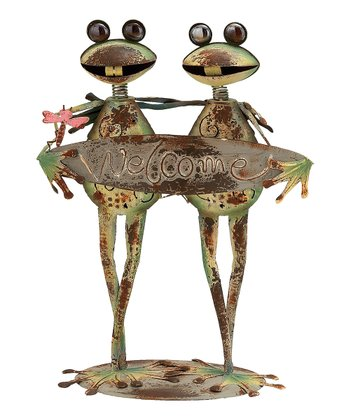 Weathered 'Welcome' Frog Statue
