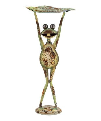 Weathered Standing Frog Bird Feed Stand