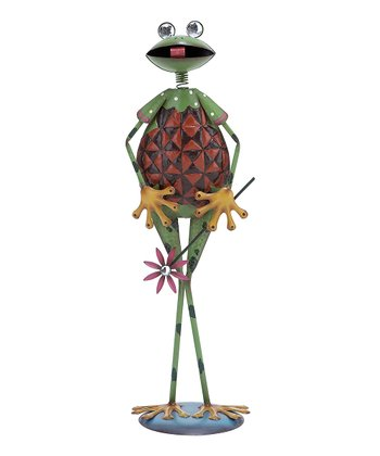 Green & Red Standing Frog Statue