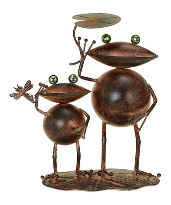 Rustic Red Metal Double Frog Statue