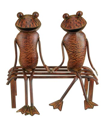 Rustic Red Frog & Bench Statue