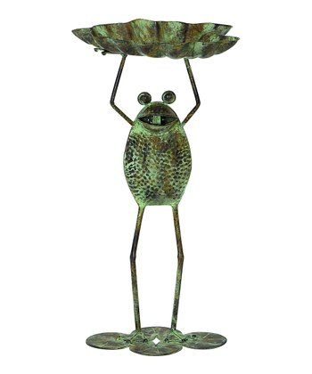 Green & Brown Standing Frog Bird Feeder