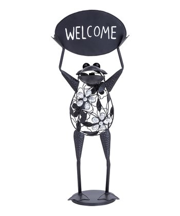 Black 'Welcome' Gem Floral Frog Statue