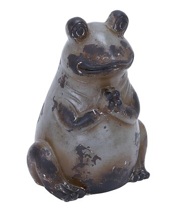 Gray Ceramic Praying Frog