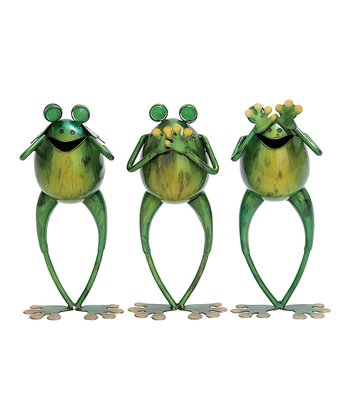 See, Hear, Speak No Evil Frog Statue Set