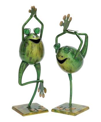 Yoga Frog Statue Set