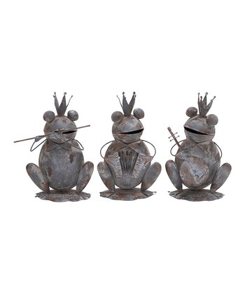 Gray Metal Frog Prince Statue Set