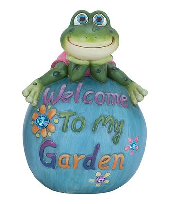 Frog 'Welcome to My Garden' Ball Garden Statue