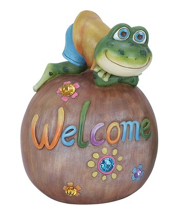 Frog 'Welcome' Ball Garden Statue
