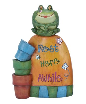 'Rest Here Awhile' Frog Garden Statue