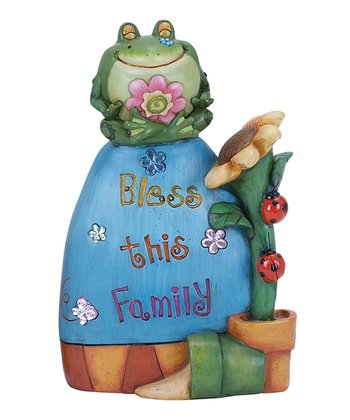 'Bless This Family' Frog Garden Statue