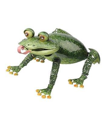 Green Bullfrog Garden Figure