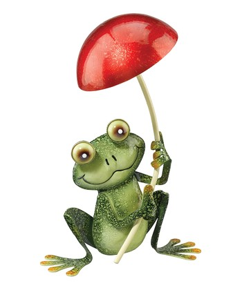 Green & Red Mushroom Umbrella Frog Figure