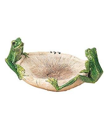 Green Frog & Mushroom Birdfeeder
