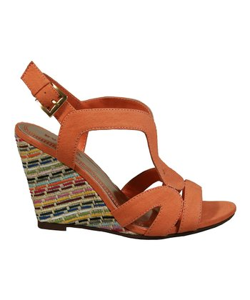 Orange Blanche Wedge Sandal