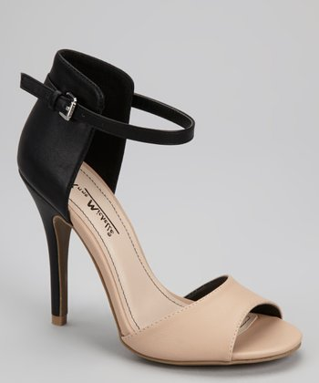Nude & Black Ankle-Strap Peep-Toe Pump