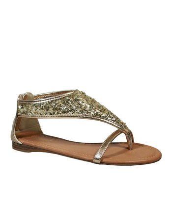 Gold Francisco-01 Sequin Sandal