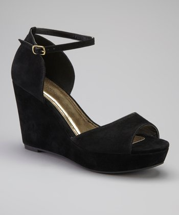 Black Ankle Strap Martha Wedge