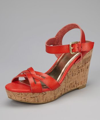 Coral Martha Wedge Sandal