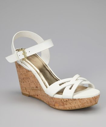 White Martha Wedge Sandal