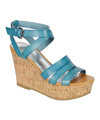 Blue Pippa Wedge Sandal