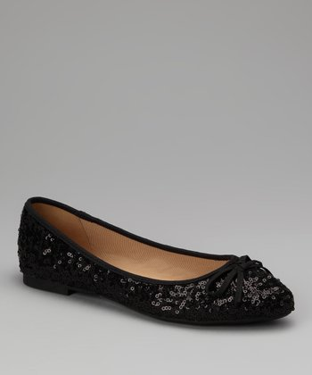 Black Sequin Waranda Flat