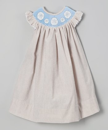 Brown Sand Dollar Smocked Yoke Dress - Infant, Toddler & Girls
