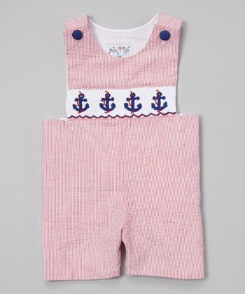 Red Anchor Smocked John Johns - Infant & Toddler