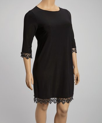 Black Lace-Trim Shift Dress - Plus