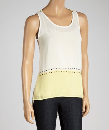 Yellow & White Studded Color Block Tank