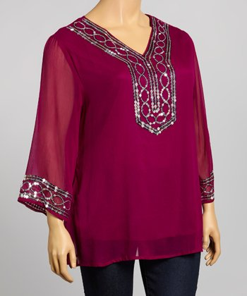 Plum & Silver V-Neck Top - Plus