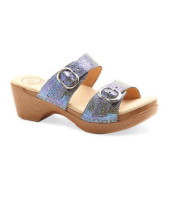 Blue Iridescent Leather Sophie Sandal - Women