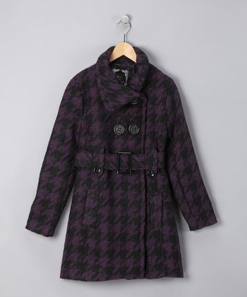 Purple Houndstooth Belted Coat - Girls