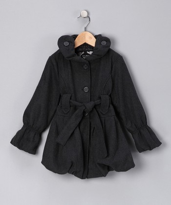 Charcoal Bubble Coat - Girls