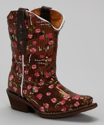 Brown & Pink Sequin Tapered-Toe Cowboy Boot