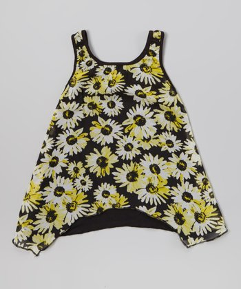Yellow & Black Daisy Sidetail Tank