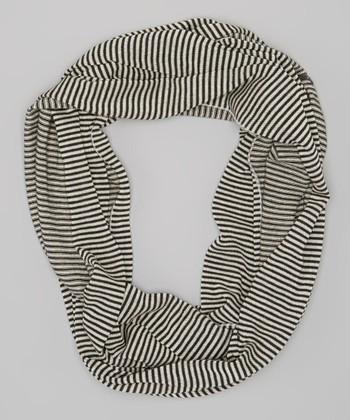 Black & White Pinstripe Infinity Scarf